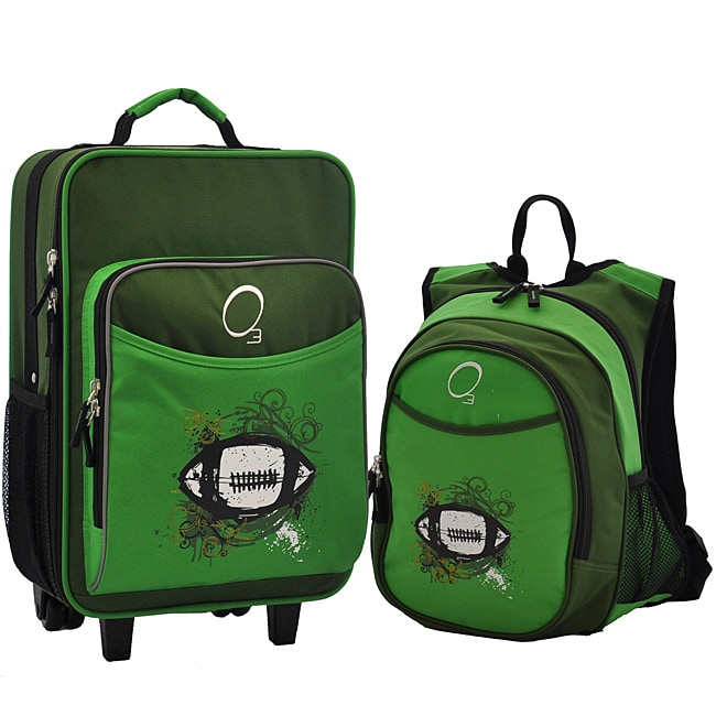 """O3 Kids """"CFootball"""" Pre-School 2 Piece Backpack and Suitcase Carry On Luggage Set"""