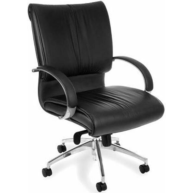 OFM Sharp Series Mid Back Leather Chair