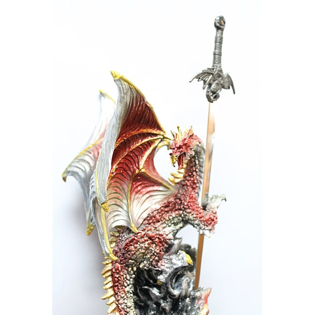 Red Dragon Figurine with Stainless-steel Sword Letter Opener