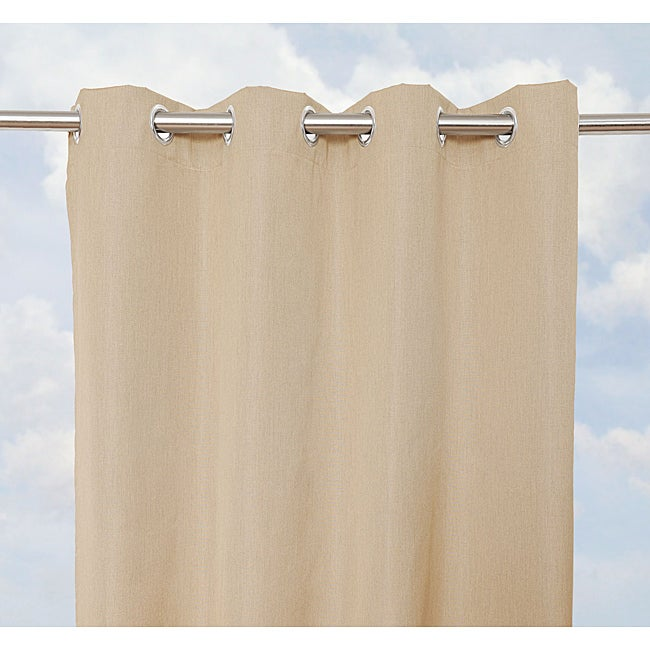 Sunbrella Bay View Heather Beige Outdoor Curtain Panel