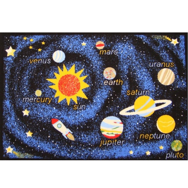 Kids Rugs Non-Skid Planets Navy 4'6 x 6' 1