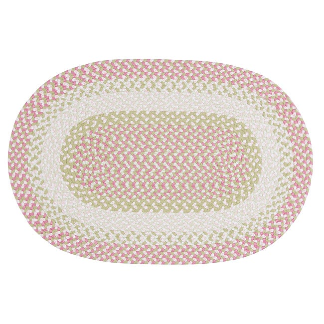 Pinwheel Pink Colored Fabric Blended Accent Rug (8'x11')