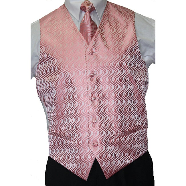 Ferrecci Men's Pink Vest Tie 4-piece Accessory Set