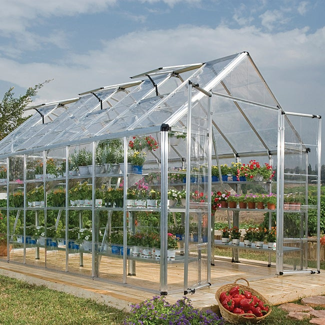 Palram Silver 8ft. x 16ft. Snap and Grow Greenhouse