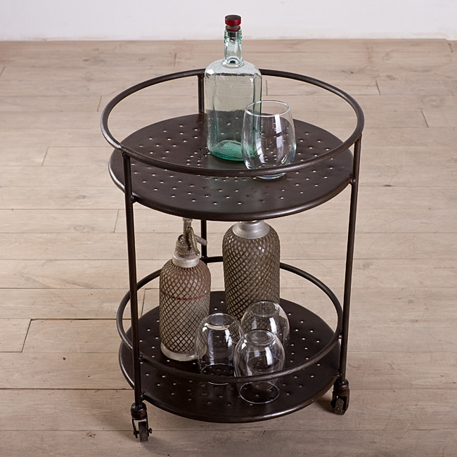 Noida Round Wheeled Trolley Table with Old Iron Lacquer Finish (India)