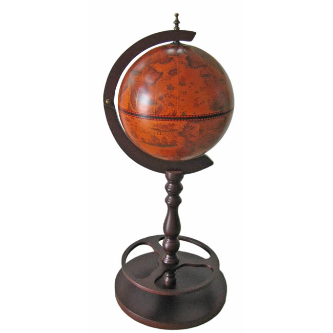 Old World Globe Wine Bar Cabinet with Stand