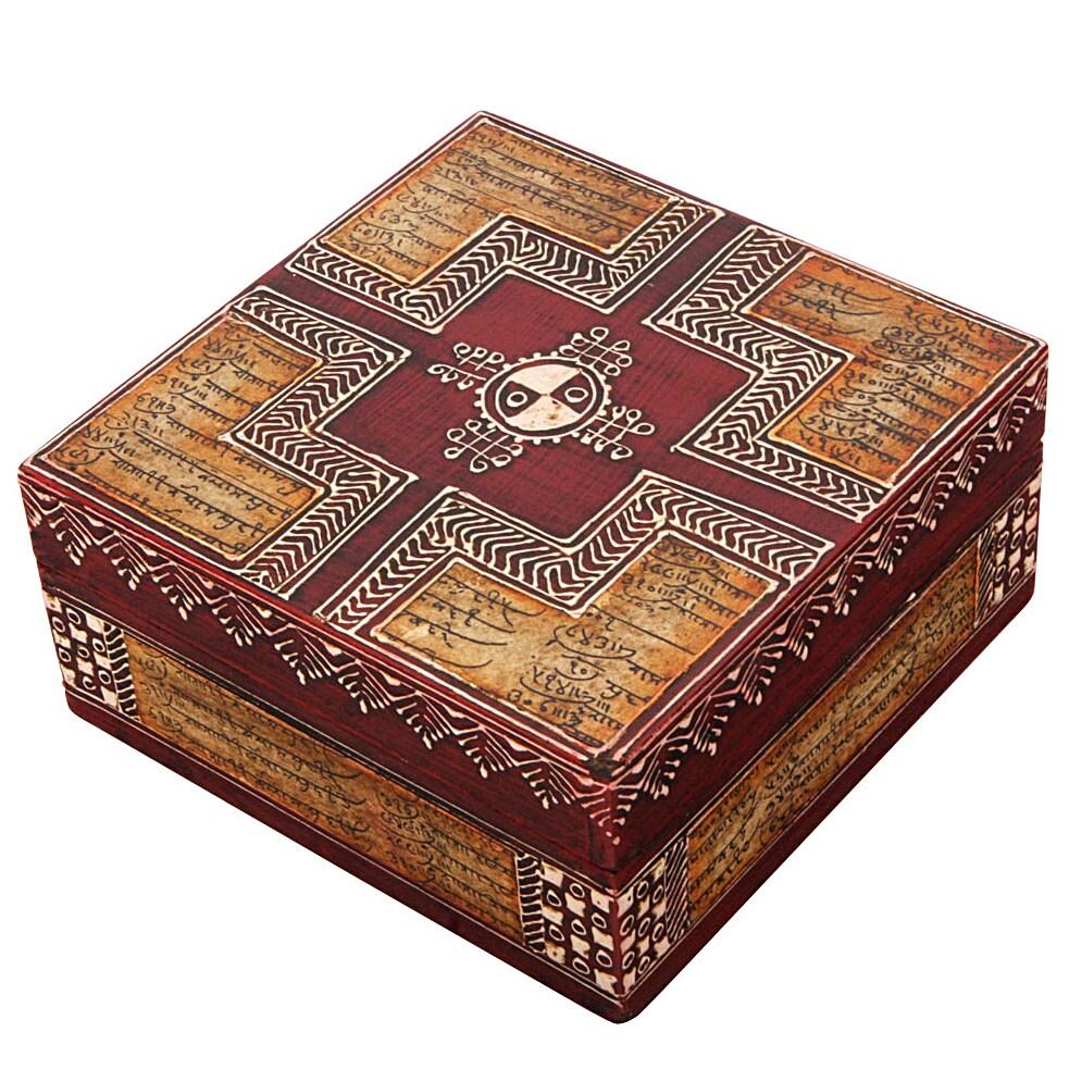 Deep Red Embossed Calligraphy Design Keepsake Box (India)