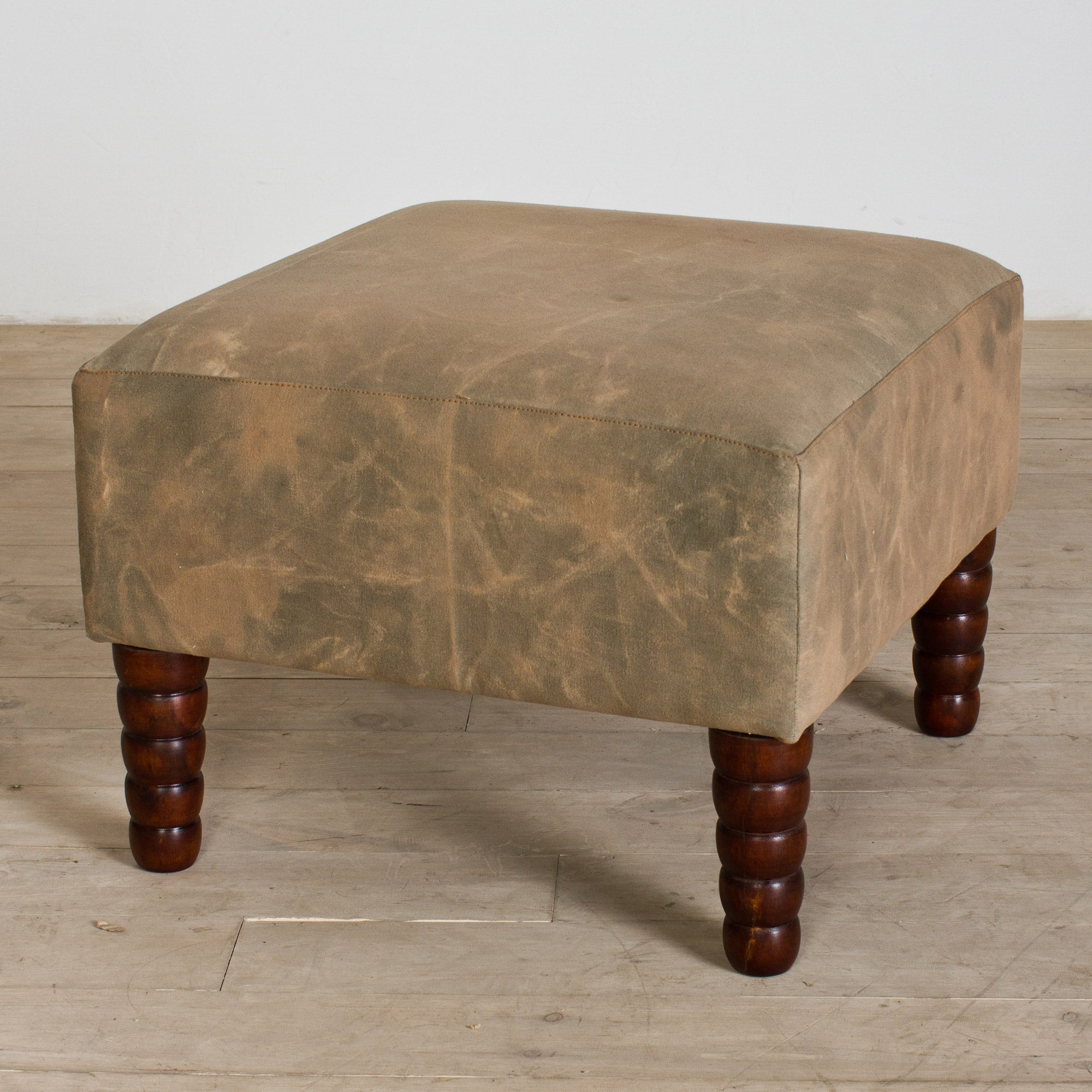 Reclaimed Canvas Ottoman (India)