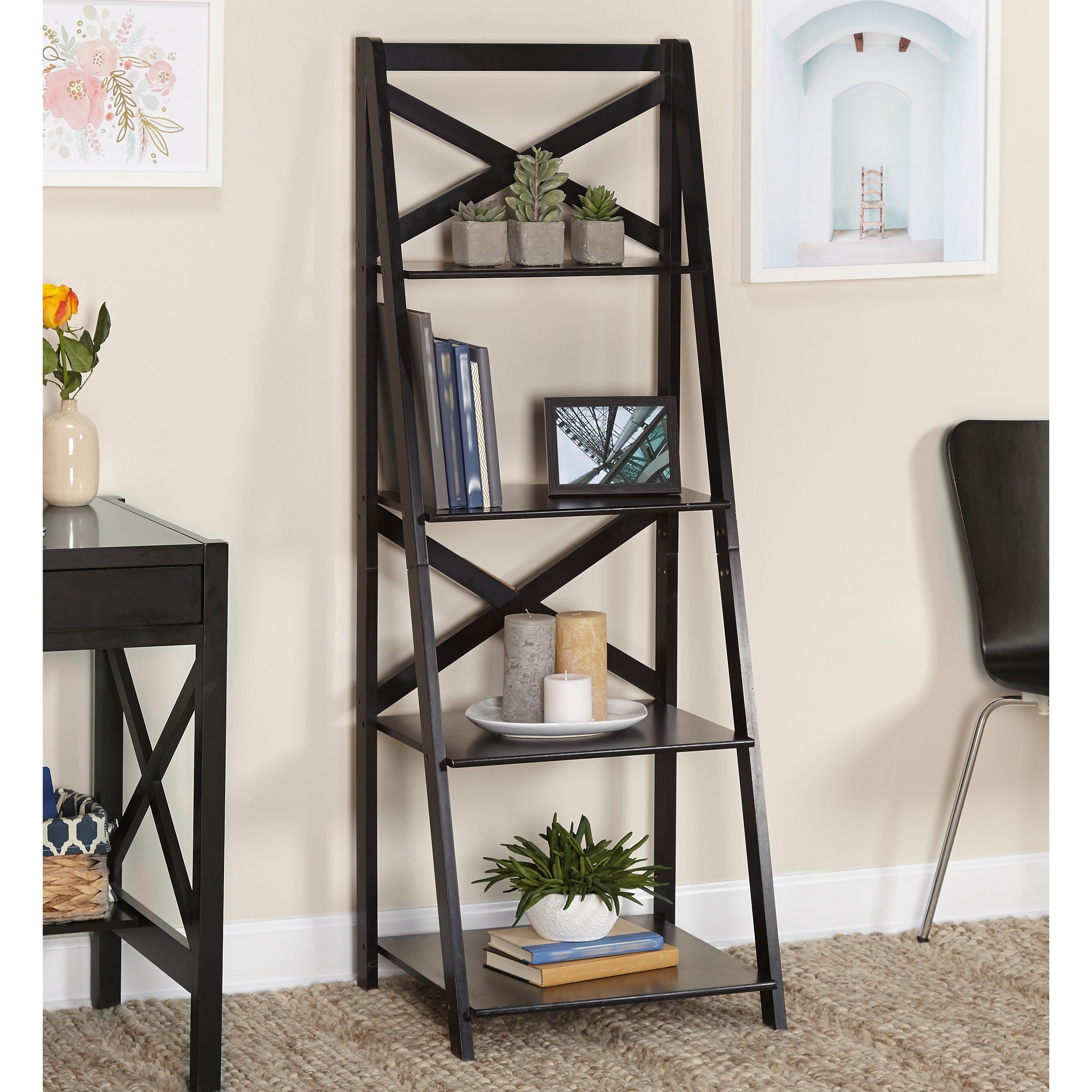 Simple Living Black Wood X-back 4-tier Ladder Shelf (Black)
