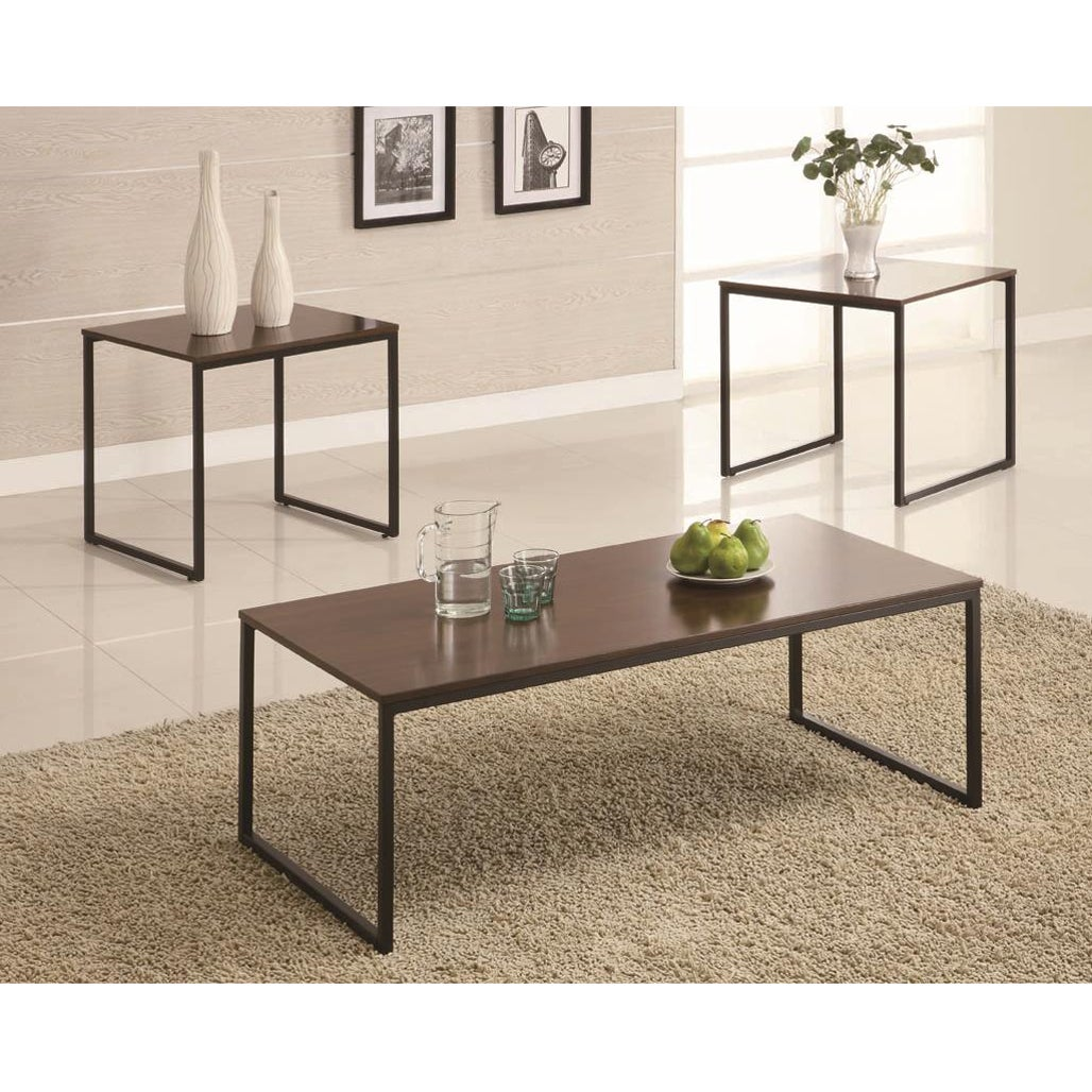 Coffee Table Garden Set: Black And Brown 3-piece End And Coffee Table Set