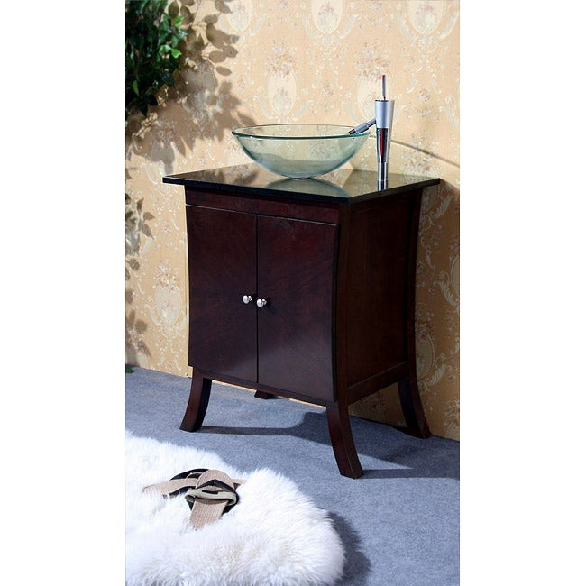 Dark Walnut 27 Inch Bathroom Vanity Glass Bowl Sink Free