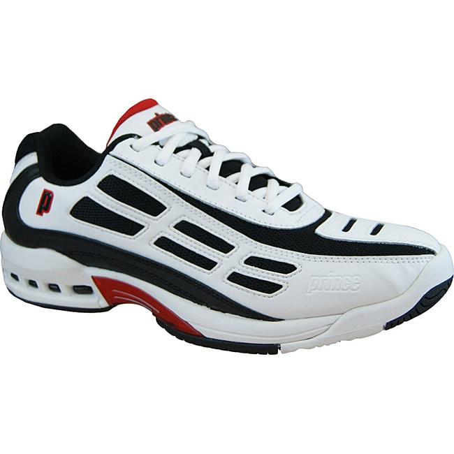 Prince Men's Renegade Tennis Shoe with Padded Antibacterial Lining - Black/Red/White