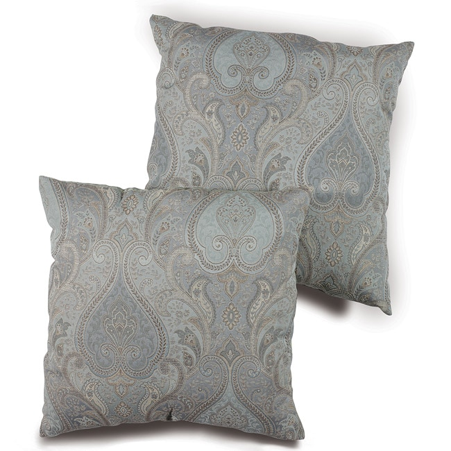 Blue Jacquard Paisley 18-inch Pillows (Set of 2)