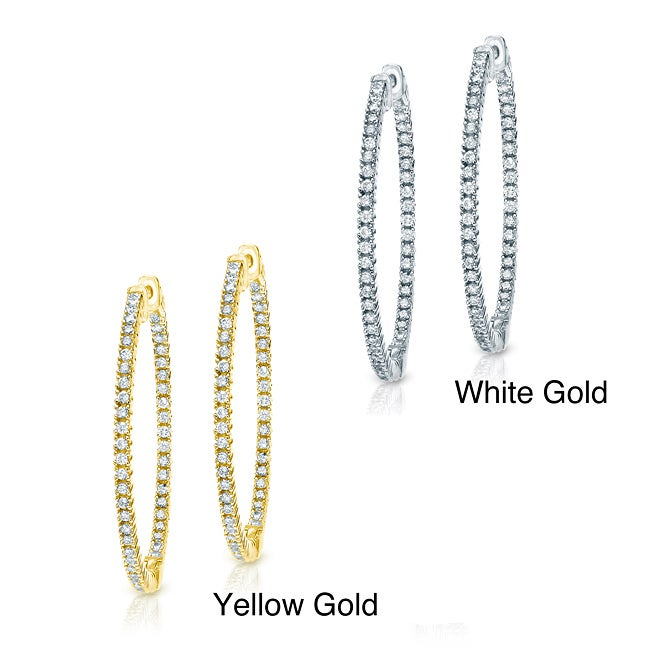 14k Gold 2ct TDW Diamond Hoop Earrings (J-K, I1-I2)