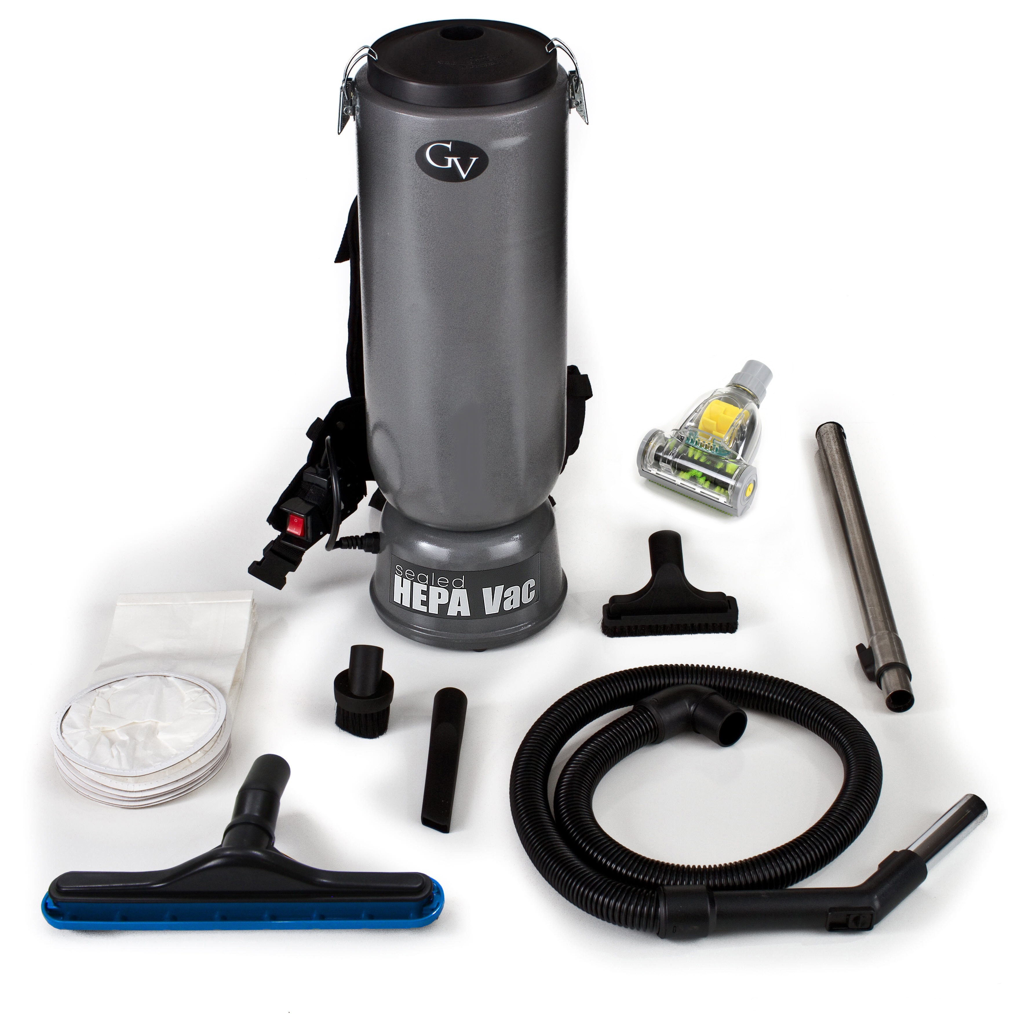 GV 10-quart Commercial Backpack Vacuum with Tools, Black