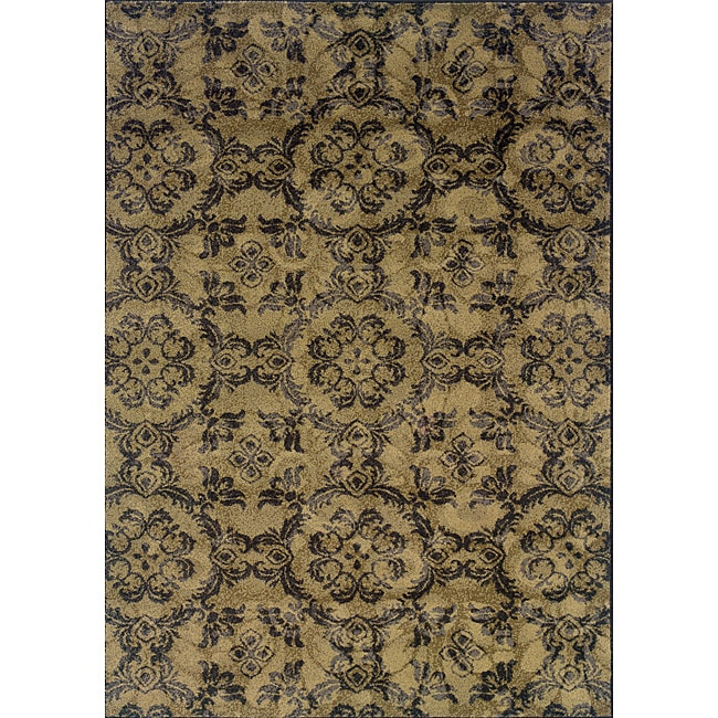Grey/ Black Transitional Floral Area Rug (1'10 x 3'3) - Thumbnail 0