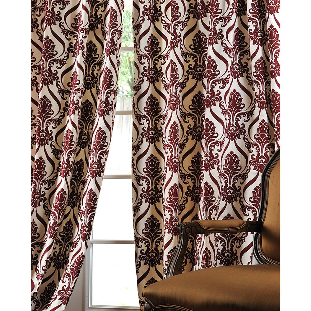Exclusive Fabrics Classique Wine Printed Cotton 96-inch Curtain Panel