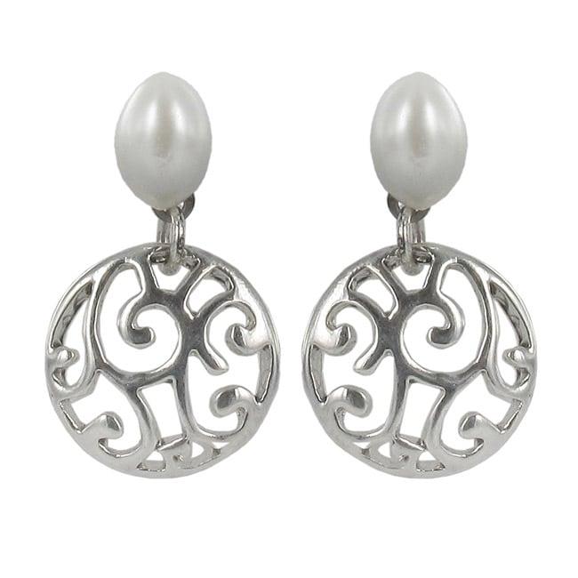 Roman Silvertone White Faux Pearl Bali Artisan Filigree Earrings