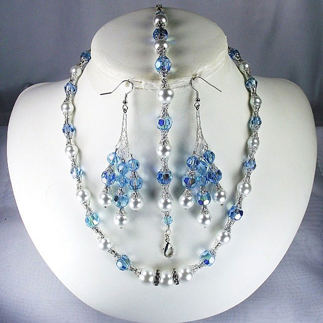Silverplated Aquamarine Crystal and White Pearl Jewelry Set