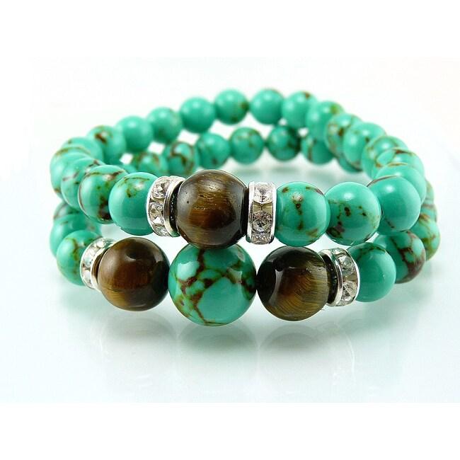 Pretty Little Style Turquoise Tiger Eye Bracelet Set