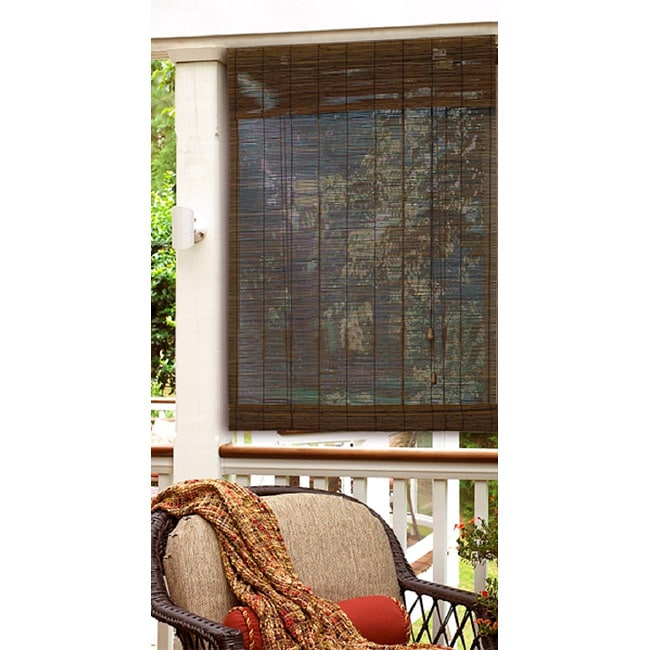 27x72 inch Privacy Matchstick Roman Shade in Cocoa