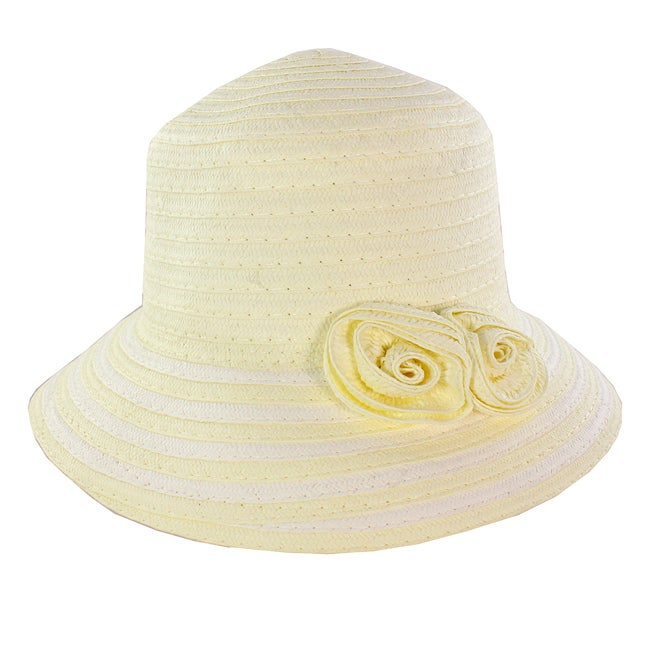 Fashionable Women Summer Straw Hat Floral Accent Adds Style White Design
