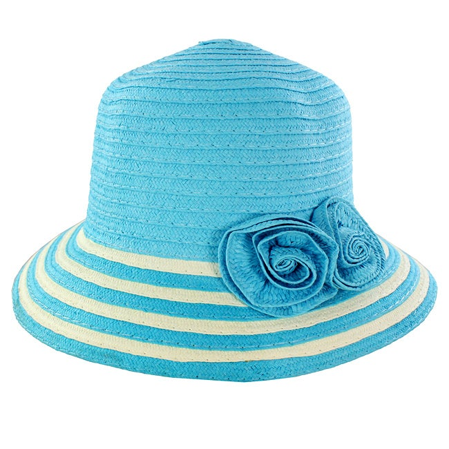 Women's Blue Floral Accent Straw Hat
