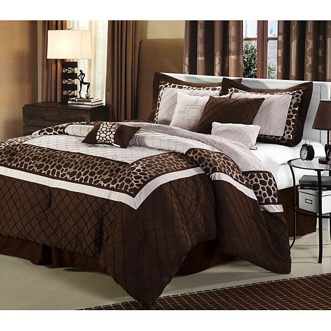 Brown Animal-print Plush Oversized 8-Piece Comforter Set