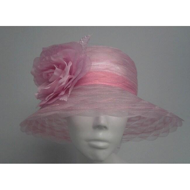 Swan Women's Pink Braided Crinoline Floppy Hat