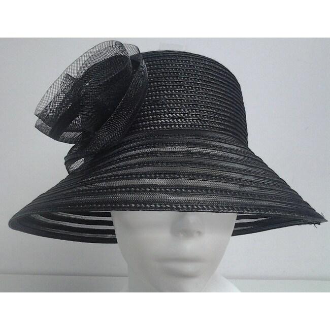 Swan Women's Black Braided Floppy Bucket Hat