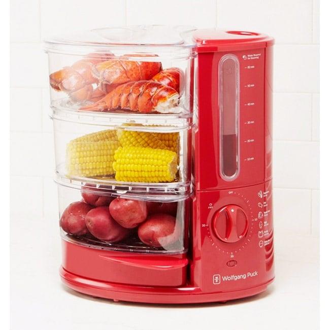 Wolfgang Puck 1400-Watt 3-Tier Red Rapid Food Steamer (Refurbished)
