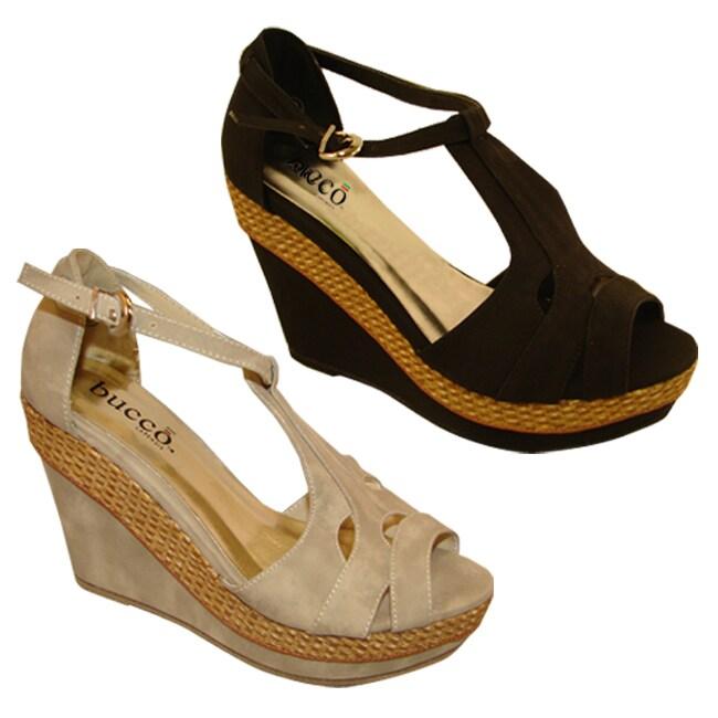 Bucco Women's 'Muriel' Suede Wedged Sandals