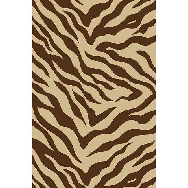 Zebra Brown Non-skid Rug (6'6 x 9'2)