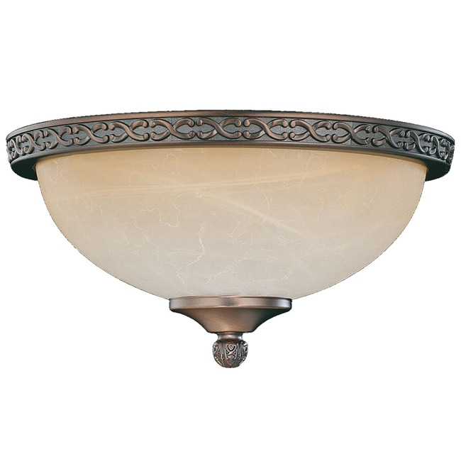 Bronze Die-cast Tea Glass Dome Light Fixture