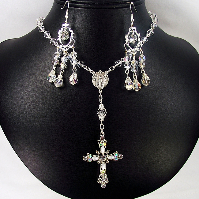 Clear Crystal Catholic Wedding Jewelry Set
