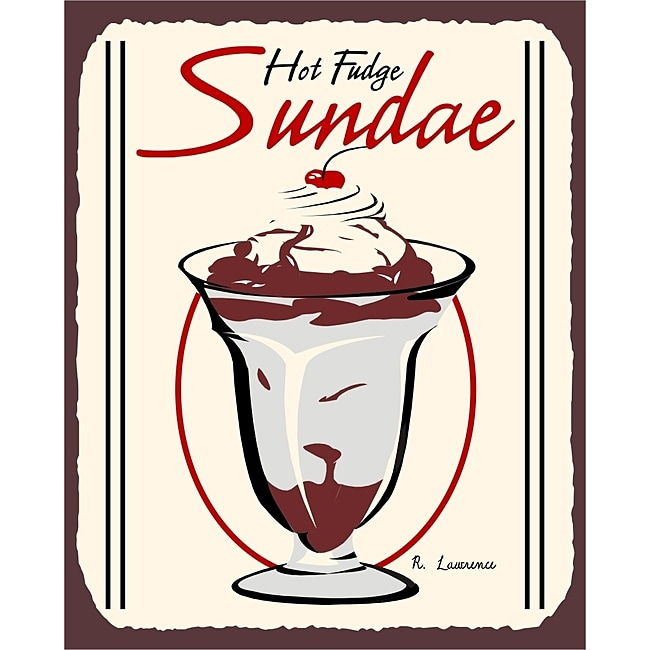 Vintage Metal Art 'Hot Fudge Sundae' Decorative Tin Kitchen Sign