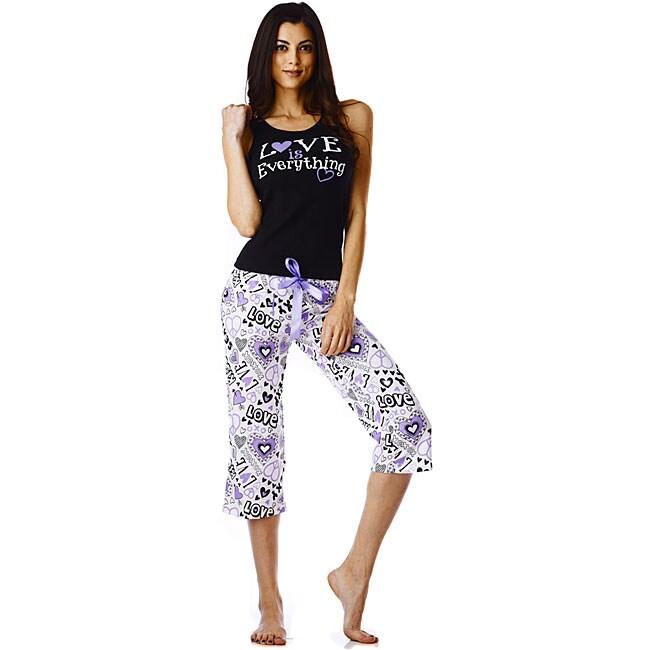 Stanzino Women's 'Love' Purple Tank and Capri Pajama Set