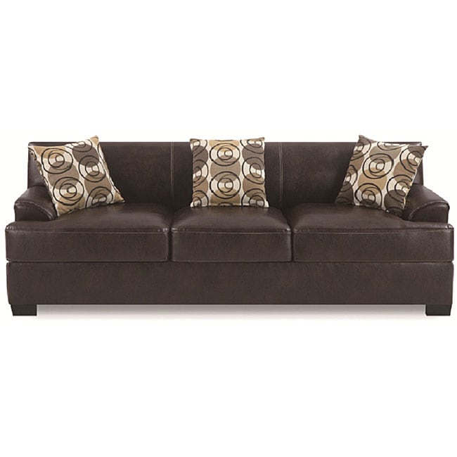 Espresso Bonded Leather Sofa
