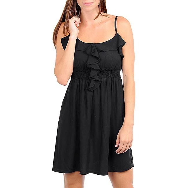Stanzino Women's Black Ruffle Spaghetti Strap Dress