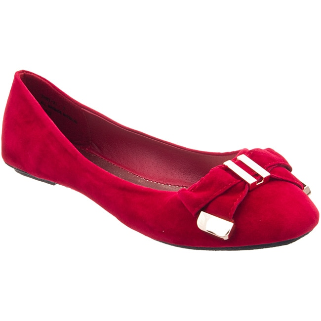 Riverberry Women's 'Sami' Red Micro-suede Flats
