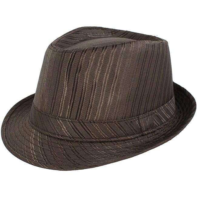 Faddism Men's Brown Striped Fedora Hat