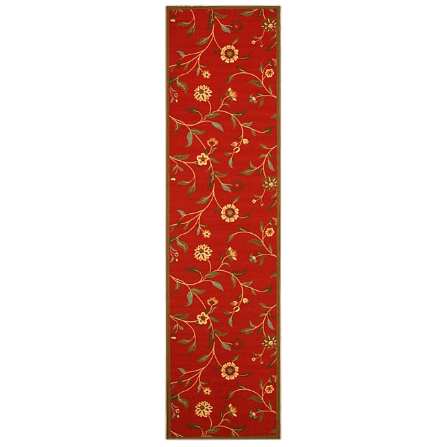 Red Transitional Floral Euro Home Rug (2'7 x 9'10)