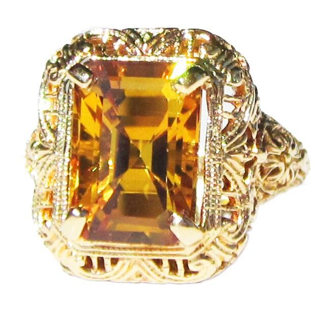 California Girl Jewelry Pre-owned 14k Yellow Gold Yellow Sapphire Art Deco Filigree Ring
