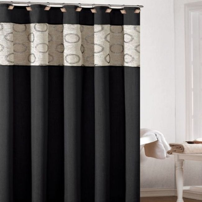 Lorena Faux Silk Jacquard Black Shower Curtain