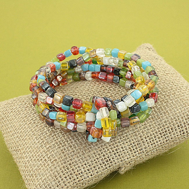 Handcrafted 'Symphony Knot' Multicolor Glass Bead Stretch Bracelet (India)