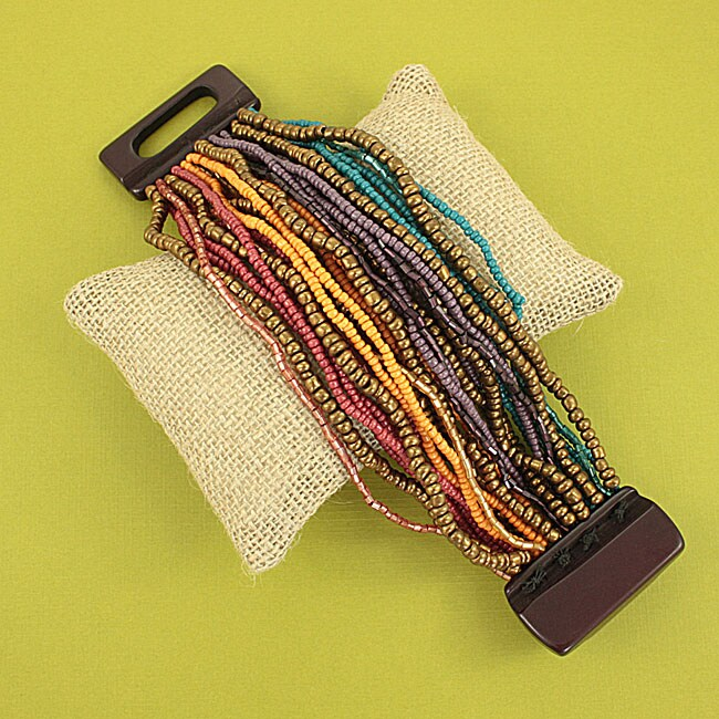 Handcrafted Stretch Multicolor Seed Bead Bracelet (India)