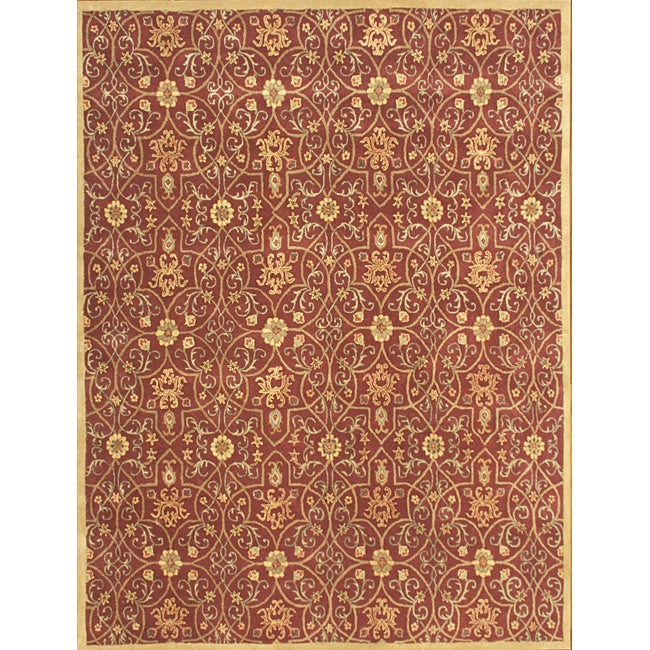 Hand-made 'Delhi' Burgundy New Zealand Wool Rug (9' x 12')
