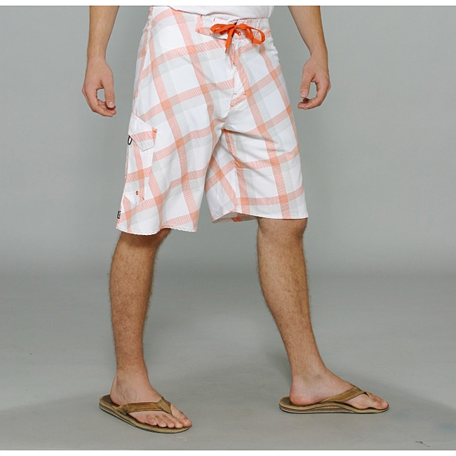 Zonal Men's 'Content' White Plaid Boardshorts