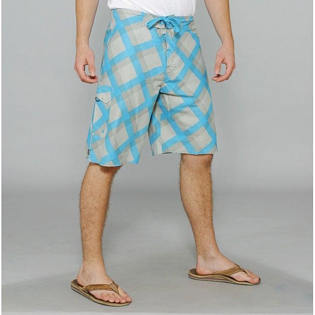Zonal Men's 'Content' Grey/ Blue Plaid Boardshorts