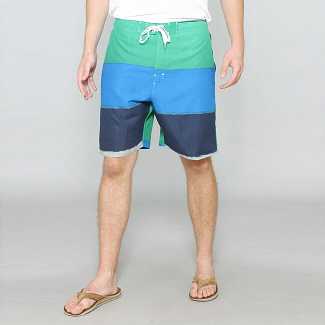Zonal Men's 'Word E-Board' Green/ Blue Swim Shorts